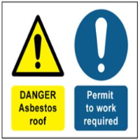 Danger Asbestos R, Permit to Work Required Safety Sign