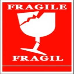 Handling Label 100mmx150mm Fragile (Broken Wine Glass Symbol) Rolls of 250 (Code VF)