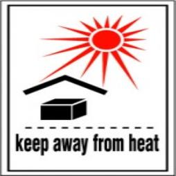 Handling Label 75mmx110mm Keep away from Heat Rolls of 250 (Code VKAFH)