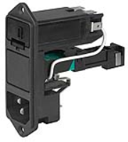 KD11.4199.107 - IEC Appliance Inlet C14 with Fuseholder 1- or 2-pole, Bowden-Line Switch 2-pole and Voltage Selector