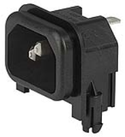 GSP2.9113.13 - IEC Appliance Inlet C14 or C18, sandwich Mounting, PCB- or Solder Terminal