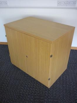 Desk high oak storage cupboard