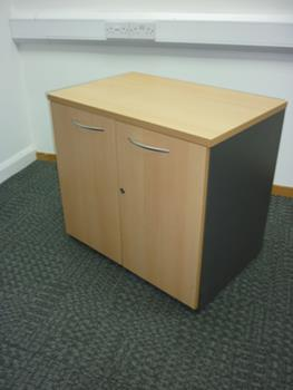 Desk high Sven beech 800mm wide desk cupboard