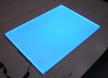 8mm deep LED light board single colour or RGB colour changing bespoke up to 3000 x 1500mm