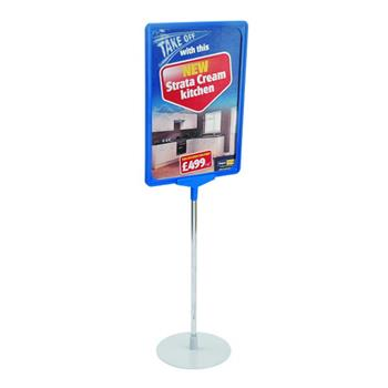 Showcard Stand With Round Base, Choice of Frame Colours