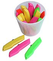 Pacific Handy Hi Vis Knife Tub With 18 Multi Coloured Utility Knives - Bu-Rpk-394