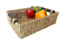 Rect. WOODEN HANDLES Seagrass Storage - 37x27x11cm - LARGE