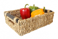 Rect. WOODEN HANDLES Seagrass Storage - 27x20x8cm - SMALL