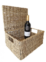 Seagrass HAMPER Basket with Lid - 33x24x15cm - LARGE