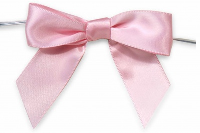 MINI SATIN BOWS with Twist Ties - 20mm - (pk 10) BABY PINK