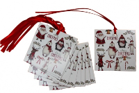Pack 50 Gift Tags with Ribbon Ties - CHRISTMAS CHARACTERS