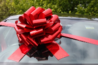 MEGA Giant Car Bow (42cm diameter) with 6m Ribbon - HOLOGRAPHIC RED