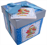 Folded GIFT BOX with Lid and Bow (xs) - BLUE/SILVER XMAS