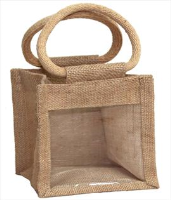 JUTE GIFT BAG with Window and Cotton Corded Handles - 15x8x13cm high - NATURAL