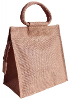 LARGE JUTE BAG with ZIP and Cotton Corded Handles - 26x15x26cm high - PALE PINK