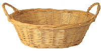 Oval Wicker Basket with Handles - 30x22x9cm (natural) (Discontinued)