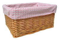 NATURAL Wicker Storage Basket PINK GINGHAM Lining - 24x18x12cm