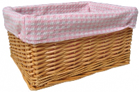 NATURAL Wicker Storage Basket with PINK GINGHAM Lining - 30x22x15cm