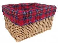 NATURAL Wicker Storage Basket with TARTAN Lining - 30x22x15cm