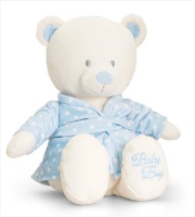 BABY BEAR in DRESSING GOWN by Keel Toys - BLUE