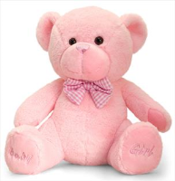 BABY GIRL BEAR by Keel Toys - 25cm PINK