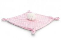 Baby's First KNOTTED COMFORTER by Keel Toys - PINK/WHITE SPOTS