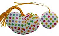 Pack 10 Gift Tags with Ribbon Ties - SPOTS