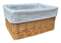 NATURAL Wicker Storage Basket BLUE GINGHAM Lining - 24x18x12cm