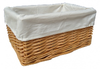 NATURAL Wicker Storage Basket CREAM Lining - 24x18x12cm