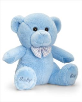 BABY BOY BEAR by Keel Toys - 20cm BLUE