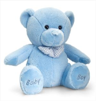 BABY BOY BEAR by Keel Toys - 25cm BLUE