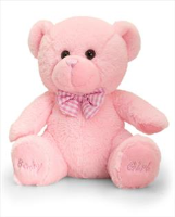 BABY GIRL BEAR by Keel Toys - 20cm PINK