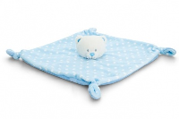 Baby's First KNOTTED COMFORTER by Keel Toys - BLUE/WHITE SPOTS