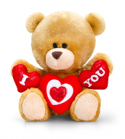 Valentine's Pipp the Bear 14cm by Keel Toys - HEARTS