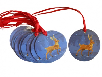 Pack 10 Gift Tags with Ribbon Ties - BLUE REINDEER