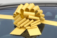 GIANT Car Bow (30cm diameter) with 3m Ribbon - GOLD GLITTER