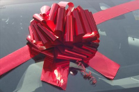 GIANT Car Bow (30cm diameter) with 3m Ribbon - METALLIC RED