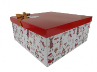 GIFT BOX with Lid, Bow and Tissue - (Large) CHRISTMAS CHARACTERS