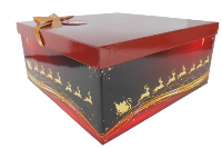 GIFT BOX with Lid, Bow and Tissue - (Large) RED/GOLD REINDEER