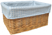 NATURAL Wicker Storage Basket with BLUE GINGHAM Lining - 30x22x15cm