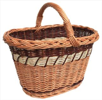 FARMHOUSE Superior Shopping Basket in Three Colours with Overhandle & Plaited Top Edge - approx 42x32x26cm