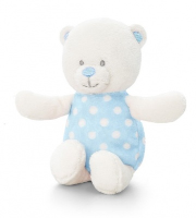 Baby Bear RATTLE by Keel Toys - BLUE/WHITE SPOTS