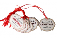 Pack 10 Gift Tags with Ribbon Ties - MERRY CHRISTMAS