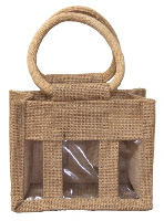 3 MINI BOTTLE JUTE BAG with Window, Partition and Cotton Corded Handles -15x8x12cm high - NATURAL