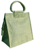 LARGE JUTE BAG with ZIP and Cotton Corded Handles - 26x15x26cm high - MINT GREEN