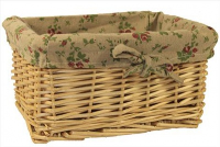 NATURAL Wicker Storage Basket with COUNTRY KITCHEN Lining - 30x22x15cm