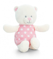 Baby Bear RATTLE by Keel Toys - PINK/WHITE SPOTS