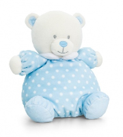 Baby Bear PUFFBALL by Keel Toys - BLUE/WHITE SPOTS