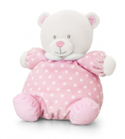 Baby Bear PUFFBALL by Keel Toys - PINK/WHITE SPOTS