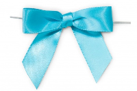 MINI SATIN BOWS with Twist Ties - 20mm - (pk 10) BABY BLUE